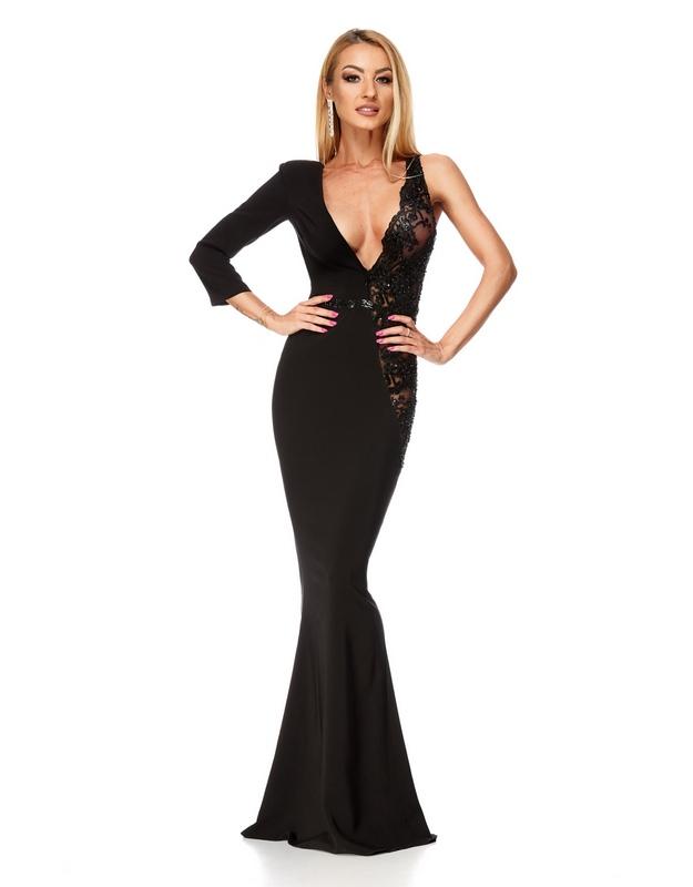 0aac86731278 Γυναικεία   Ρούχα   Φορέματα   Καθημερινά   9189 RO Κομψό μάξι γοργονέ  φόρεμα - μαύρο - GoldenShopping.gr
