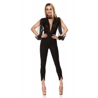 9241 RO Jumpsuit with a veil transparent top and sequins-Black