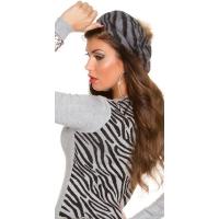 41008 FS Μοντέρνο καπέλο Zebra με pompom