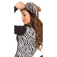 41009 FS Μοντέρνο καπέλο Zebra με pompom