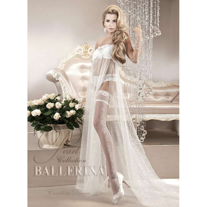 2198 BA Ballerina white stay-ups with lace top 8 cm high