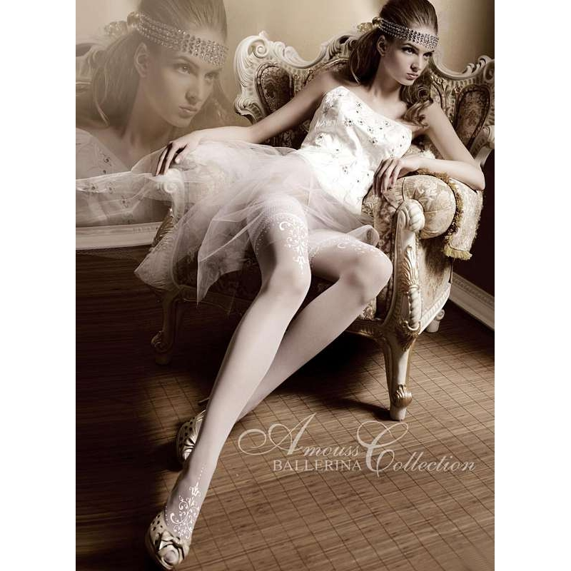 2200 BA Ballerina white siliconed stay-ups with fine embroidery