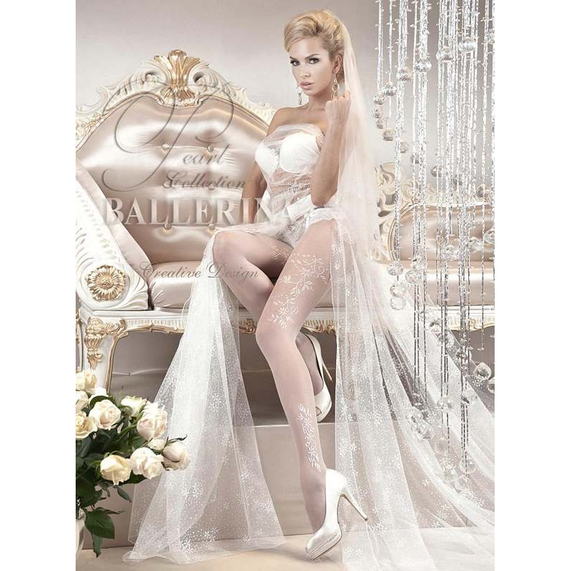 2257 BA Ballerina white tights with elegant ramages