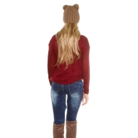 Jumpers - 41506 FS Trendy chunky knit jumper with decorative lacing - Bordeaux