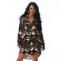 6995 LX Ασύμμετρη μακριά πουκαμίσα - camouflage