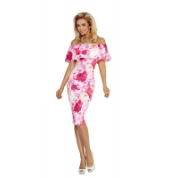 70088 NU Dress with frill - Pink roses