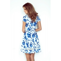 70090 NU Midi dress with tulle - white in blue flowers