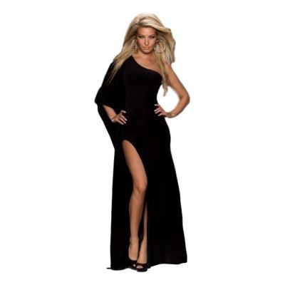 Ιδιαίτερο μάξι φόρεμα με έναν ώμο - Μαύρο 5714