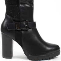 0605 ID Ψηλοτάκουνες μπότες με αγκράφα - Μαύρες