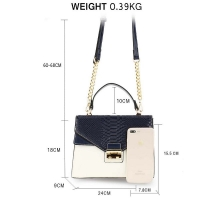 1564 AG Cross Body Snake Print Shoulder Bag AG00724 - Navy/White