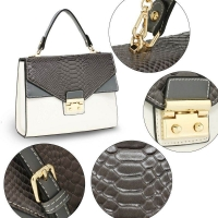 1565 AG Cross Body Snake Print Shoulder Bag AG00724 - Grey/White