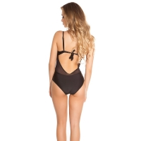 41851 FS Sexy swimsuit with roses embroidery - black