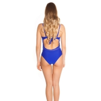 41852 FS Sexy swimsuit with roses embroidery - royal blue