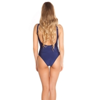 41864 FS Sexy swimsuit with lacing and embroidery - navy