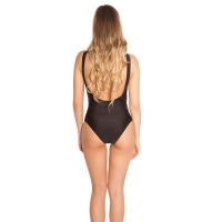 41865 FS Sexy swimsuit with lacing and embroidery - black