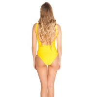 41866 FS Sexy swimsuit with lacing and embroidery - yellow