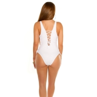 41874 FS Sexy swimsuit with lacing - White