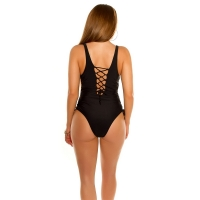 41875 FS Sexy swimsuit with lacing - Black