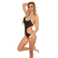 41907 FS Sexy monokini with crochet hem - Black