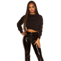41991 FS Crop chunky knit pullover - Black