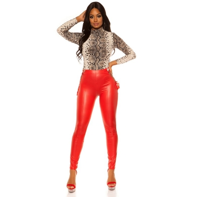 42007 FS Wetlook Leggings With Lacing - Red