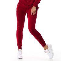61108 LX Βελουτέ παντελόνι φόρμας - μπορντώ