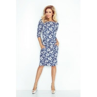 70100 NU Sporty dress with sleeves 3/4 - Blue Floral