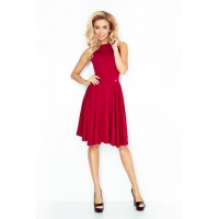 70106 NU Flared dress made of a thick material - bordo