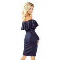 70113 NU Μακρυμάνικο μίντι φόρεμα με βολάν - μπλέ navy