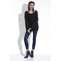 80151 BY Oversized sweater with long sleeves- Black