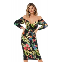 9302 RO Midi dress with a special floral print - Black