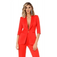 9303 RO Chic suit with high-waisted pants and perfect fit - Red
