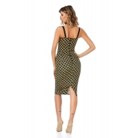 9309 RO Midi dress with a bust with push-up cups - Black/Gold