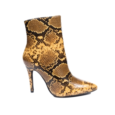 0787 ID Ankle boots snake look - Beige/Brown