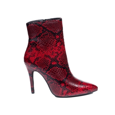 0788 ID Ankle boots snake look - Red