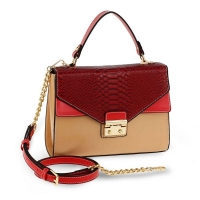 1563 AG Cross Body Snake Print Shoulder Bag AG00724 - Bardeaux/Nude