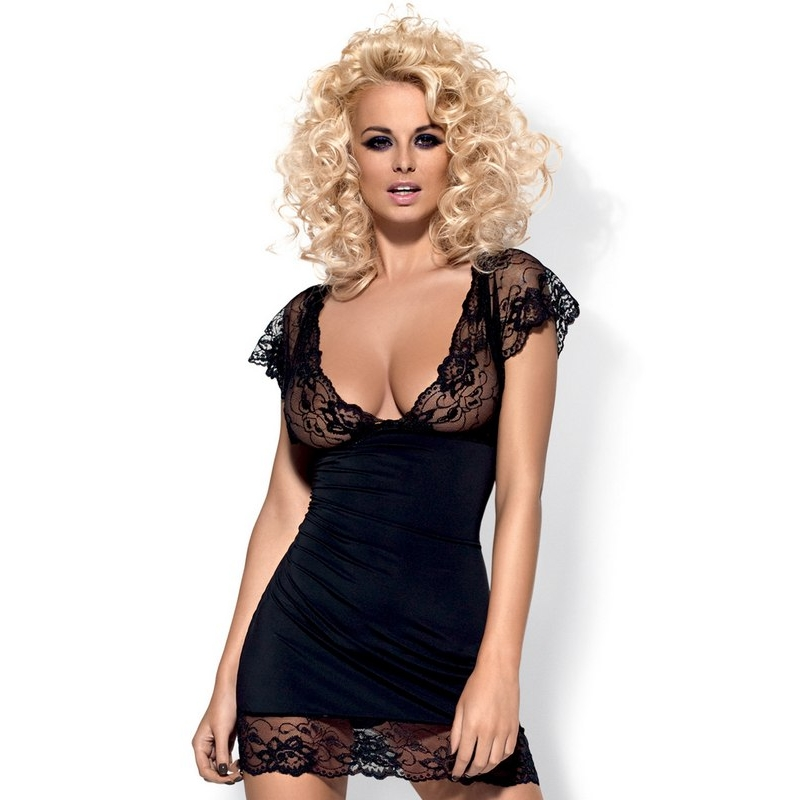 2395 OB Feminine chemise with mixed fabrics and thong - black