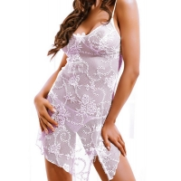 2419 HM Sexy chemise with thongs -White
