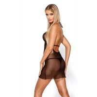 2420 HM Elegant chemise and thong -Black