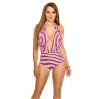 41834 FS Sexy striped swimsuit - Red