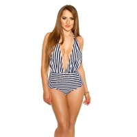 41835 FS Sexy striped swimsuit - Navy