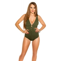 41858 FS Sexy swimsuit with lacing - Khaki