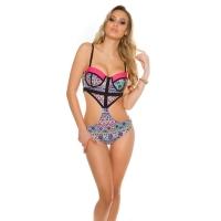 41871 FS Sexy PushUp Monokini with Aztec pattern - Neon Pink