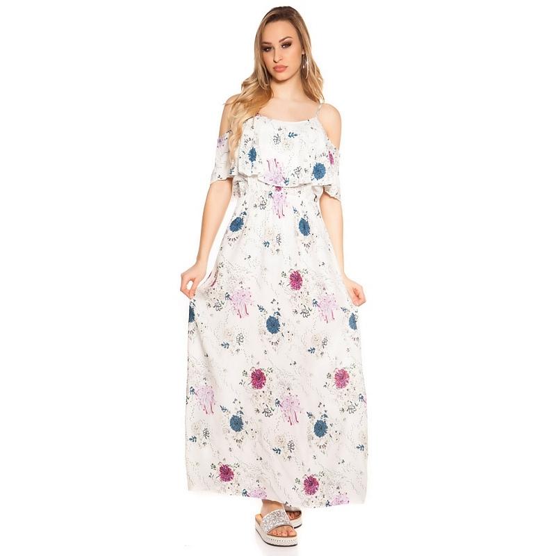 41884 FS Sexy long summer dress Coachella-Style - White