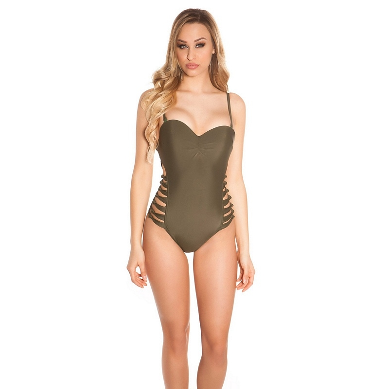 41891 FS Sexy swimsuit with cut outs - Khaki