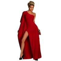 5823 QN One-Shoulder Maxi Dress in length - Red