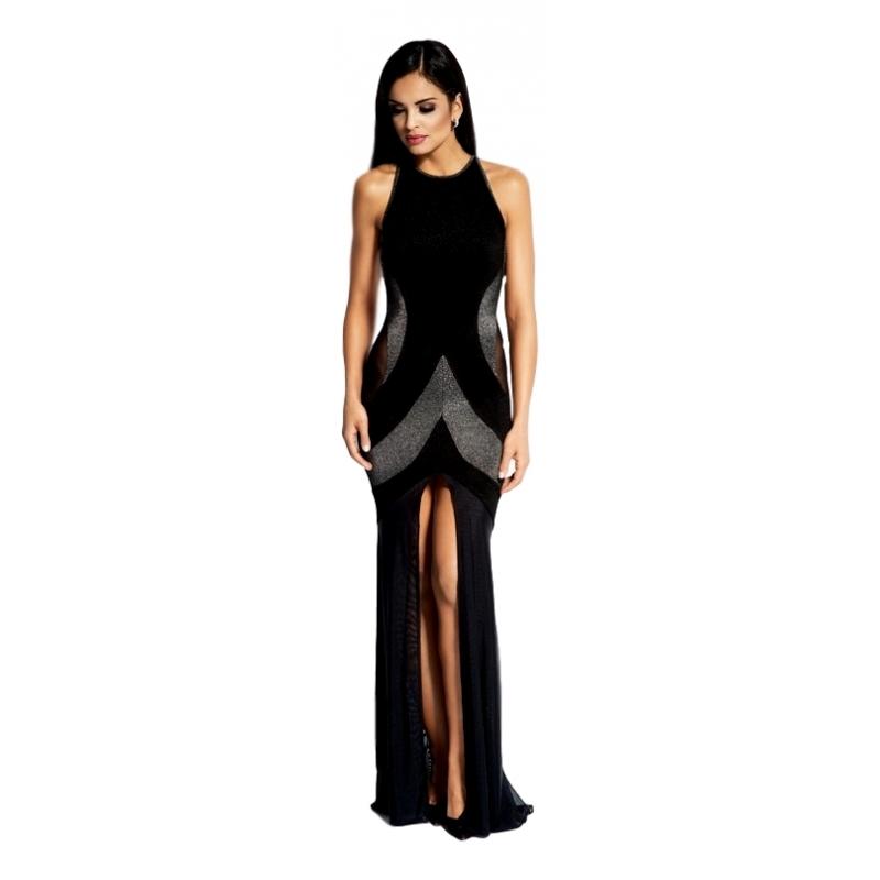 60031 DR Μάξι μεταλιζέ φόρεμα με διαφάνεια στο πλάι - Μαύρο/Ασημί
