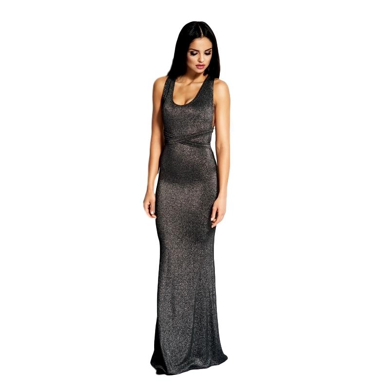 60035 DR Μάξι μεταλιζέ φόρεμα με ανοιχτή πλάτη - Ασημί