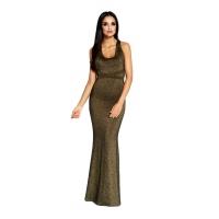 60036 DR Μάξι μεταλιζέ φόρεμα με ανοιχτή πλάτη - Χρυσό