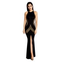 60037 DR Μάξι μεταλιζέ φόρεμα με διαφάνεια στο πλάι - Μαύρο/Χρυσό